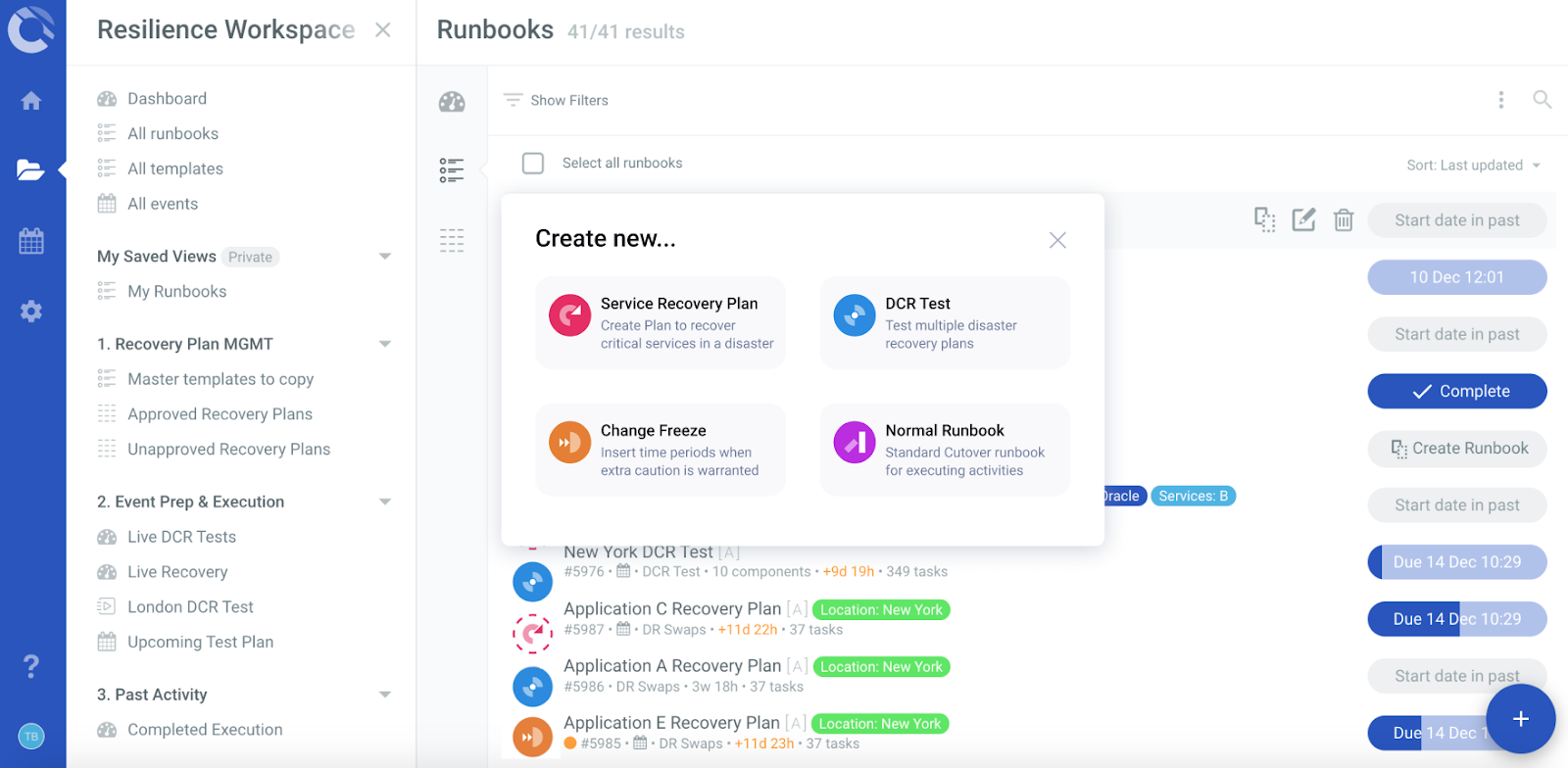 templated resilience runbooks